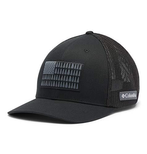 Columbia Men's Mesh Tree Flag Ball Cap, Black, Large/X-Large