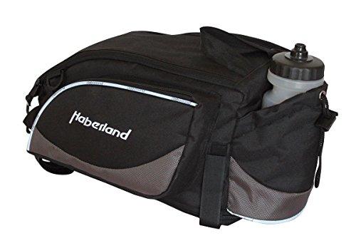Haberland Fahrradtasche Gepäckträgeraufsatztasche Schwarz/Silber Klettband-Befestigung Gepäckträgertasche, 36 x 20 x 24cm
