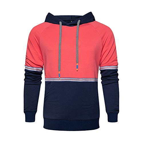 POQOQ Sweatshirt Hooded Men Long Sleeve Autumn Winter Casual Top Blouse Tracksuits (L,2Red)