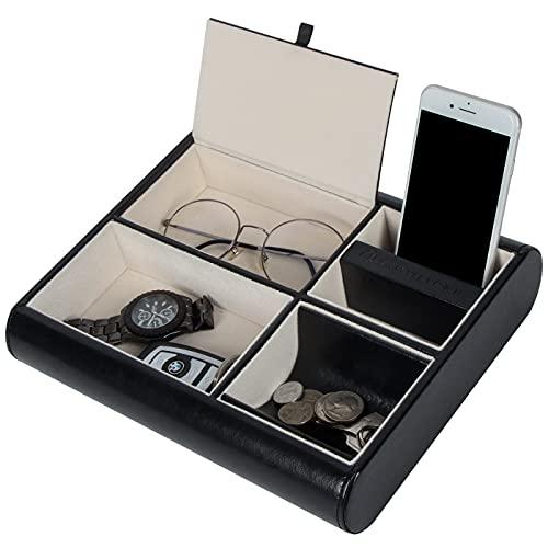 Jack Cube Valet-Tablett aus Leder, Organizer für Schreibtisch oder Kommode, für Schlüssel, Telefon, Geldbörse, Münzen, Schmuck und mehr, 26 x 5,7 x 21 cm, MK158