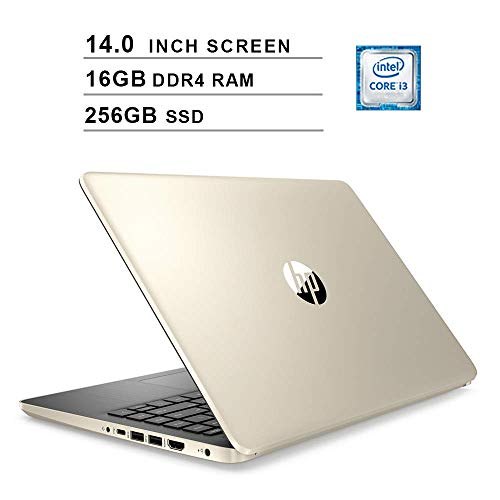 2020 HP Pavilion 14 Inch Laptop, 10th Gen Intel 2-Core i3-1005G1 up to 3.4GHz, Intel UHD Graphics, 16GB DDR4 RAM, 256GB SSD, WiFi, Bluetooth, HDMI, Webcam, Windows 10 Home, Gold (Renewed)