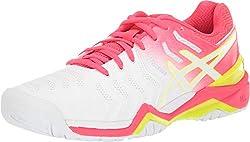 powerful ASICS Women's Gel Resolution 7, 8M Tennis Shoes, White / Laser Pink