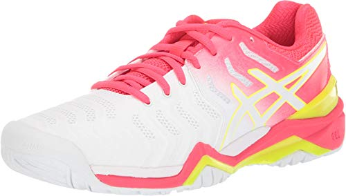 ASICS Women's Gel-Resolution 7 Tennis Shoes, 8M, White/Laser Pink