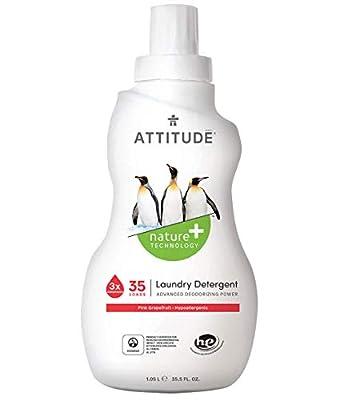 ATTITUDE Hypoallergenic Laundry Detergent, Liquid, Non-toxic, ECOLOGO Certified, Citrus Zest, 35.5 Fluid Ounce, 35 Loads