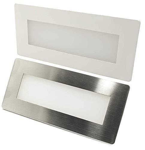 Faretto segnapassi LED 4W incasso luce muro cassetta 506 4000K bianco inox IP65