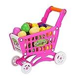 HJX888 Carro de la Compra para Niños, para Niños y Niñas,Pretienden a Jugar con Alimentos y Frutas,con Comestibles,Rosado