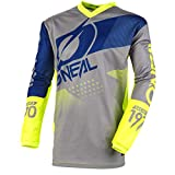 O'NEAL | Motocross-Jersey | MX Enduro Motorrad | Maximale Bewegungsfreiheit, Gepolsterter Ellbogenschutz, Atmungsaktives Material | Jersey Element Factor | Erwachsene | Grau Blau Neon-Gelb | Größe S