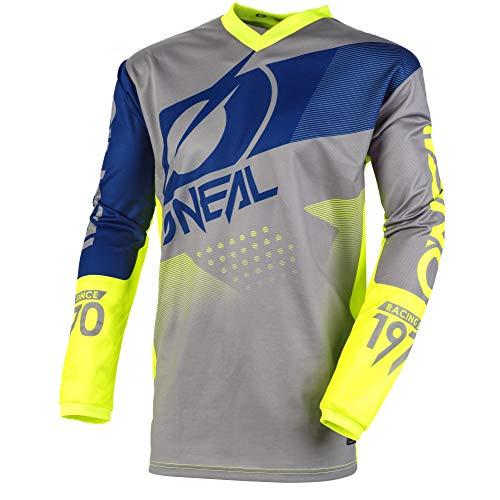 O\'NEAL | Motocross-Jersey | MX Enduro Motorrad | Maximale Bewegungsfreiheit, Gepolsterter Ellbogenschutz, Atmungsaktives Material | Jersey Element Factor | Erwachsene | Grau Blau Neon-Gelb | Größe S