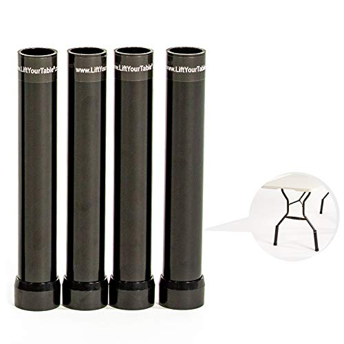 Lift Your Table Leg Extensions - for Use with Wishbone/Bent Leg Folding Tables, Raises Table Up to Counter Height, Hard Foot