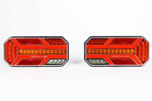 2x 12V/24V LED Rückleuchten LKW Heckleuchten Anhänger 35LEDs Rücklicht mit 6 Funktionen E-Prüfzeichen Neu OVP