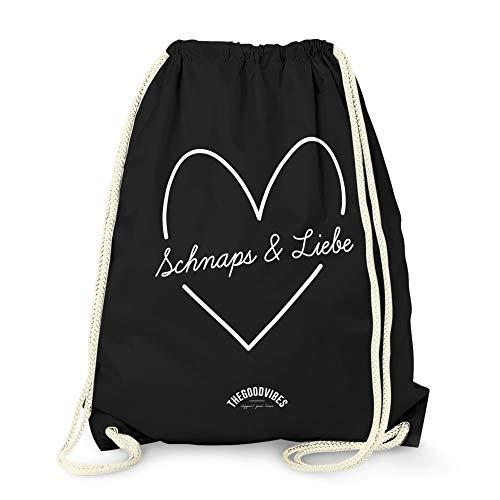 Turnbeutel von THEGOODVIBES – mit Spruch Schnaps & Liebe – für den Sport und den Alltag, aus hochwertigen Materialien – Beutel mit Kordeln – EIN toller Rucksack aus Baumwolle - Tasche in schwarz