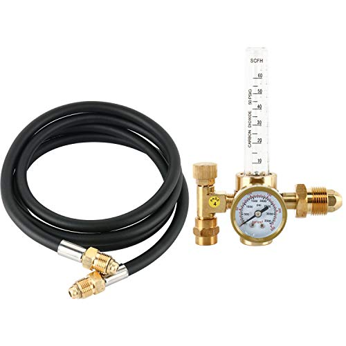 YaeTek Argon CO2 Mig Tig Flow meter Welding Weld Regulator Gauge Gas Welder CGA-580 With 80'' (6.6FT) Hose