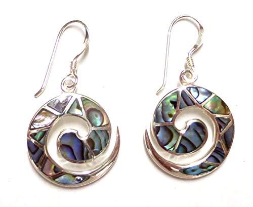 Orecchini a forma di conchiglia, a spirale, con conchiglia di abalone in argento sterling, gioielli da donna, idea regalo