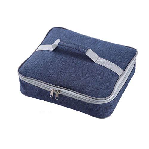 NUELLO Grande Bolsa De Almuerzo con Aislamiento, Bolsa Térmica Comida Caja Bento Impermeable Espesar Adecuado Estudiante/Trabajo/Exteriores-Azul