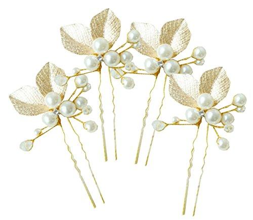 My Topaz ゴールド 葉っぱ モチーフ かわいい 髪 飾り ヘア アクセ パール Uピン ヘア ピン コーム セット 結婚 パーティ ドレス 着物 (5個セット)