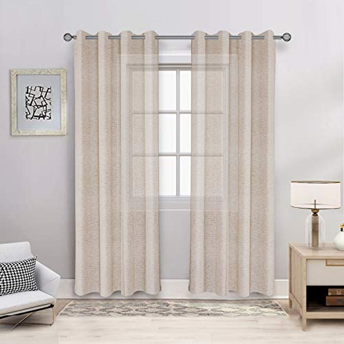BONZER Burlap Linen Sheer Curtains for Living Room - Grommet Top Sheer Drapes 108 inches Length Light Filtering Voile Window Curtain for Bedroom, Set of 2 Panels (54 x 108 Inch, Linen)