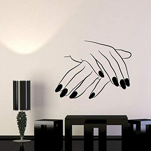 Tianpengyuanshuai Nail Salon Vinyl muursticker schoonheidssalon-muur-raamsticker meisje hand manicure kunststicker