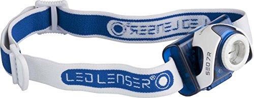 Ledlenser SEO7R LED Akku Stirnlampe, sehr helle 220 Lumen, 20 Stunden Laufzeit, wiederaufladbar oder batteriebetrieben, fokussierbar, blau, inkl. Akku