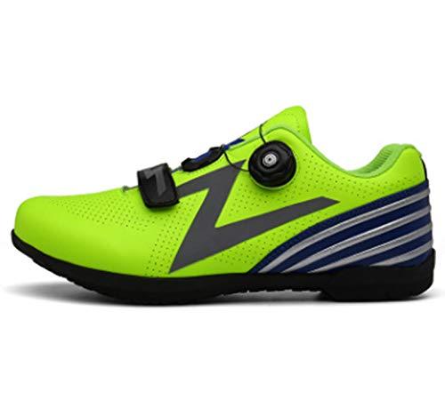 Govoland Zapatos de bicicleta de montaña para hombres y mujeres deportes al aire libre antideslizante Mountain Bike Racing Bicycle Shoes(42, verde)