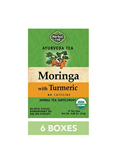 HERBAL CUP MORINGA WITH TURMERIC TEA - 6 Pack, 96 Tea Bags Total ORGANIC