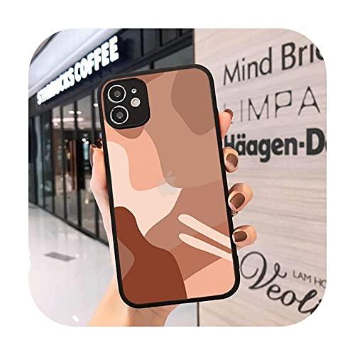 Mosaico pintura simple moda teléfono caso mate transparente para iPhone 7 8 11 12 s mini pro X XS XR MAX Plus cover-a11-iPhone12