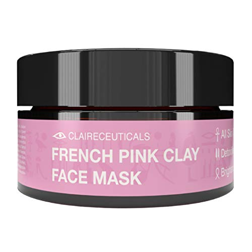 CLAIRECEUTICALS Masque Argile Rose - Soin du Visage Hydratant et Nettoyant - Masque pour le Visage - à l'Aloe Vera et Beurre de Karité - Masque Soin Visage - Masque Argile Visage - Pink Mask, 100ml