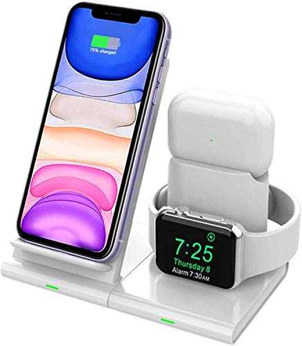 Hoidokly Cargador Inalámbrico, 3 en 1 Soporte de Carga para iPhone y Apple Watch, Base de Carga Rápida para iWatch 2/3/4/5, AirPods Pro, iPhone 12/12 Pro/11 Pro/XS/X/SE (No Cable de Carga del iWatch)