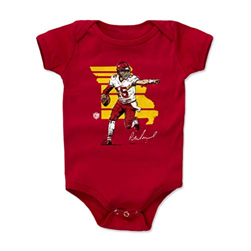 1UP Sports Marketing Pat Mahomes Kansas City Football Baby Clothes, Onesie, Creeper, Bodysuit (3-6 Months, Red) - Patrick Mahomes State WHT