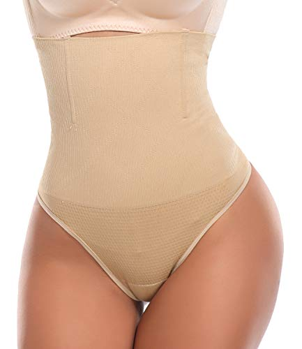SLIMBELLE Tanga Faja Braga Reductora para Mujer Vientre Plano Braguitas Modeladora Cintura Alta-Beige-S