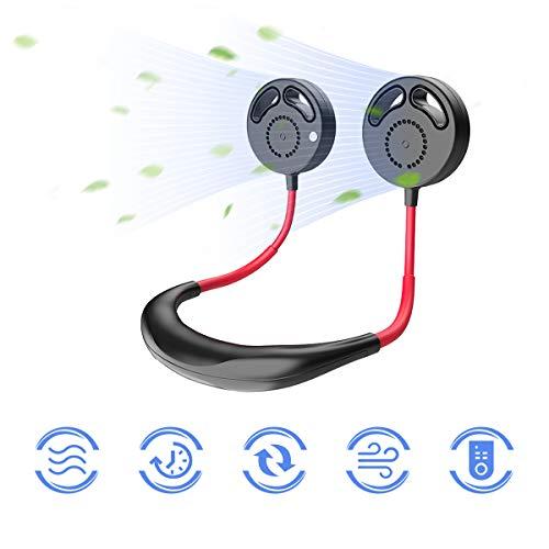Ventilador de Cuello Colgante, Mini USB Ventilador sin Cuchillas Recargable Ventilador Personal Portátil con 3 Velocidades (Negro)