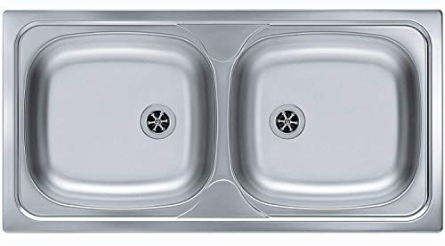 Alveus Basic 70 Einbau Küchenspüle 860 x 435 mm Doppelspüle 2 Becken *1037498