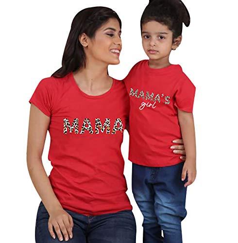 Camisetas Familiares Madre Hijo Mama Hija Camiseta Familiar Camisetas Estampadas Divertidas para Familia Personalizadas Camisas Básicas Manga Corta Hombre Mujer Niño Niña Tops Oversize Verano Rojo M