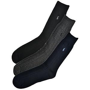 (ポロ ラルフローレン) POLO RALPH LAUREN メンズ 靴下 (3足セット) コーマコットン リブ ビジネス ソックス 黒 アソート [25cm-30cm][8092PKBKAS] [並行輸入品]