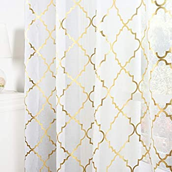 Kotile Moroccan Sheer Curtains 84-Inch Length for Living Room - Rod Pocket White Sheer Curtains Gold Foil Quatrefoil Pattern Window Curtain 2 Panels for Bedroom W52 x L84 Inch 1 Pair White and Gold