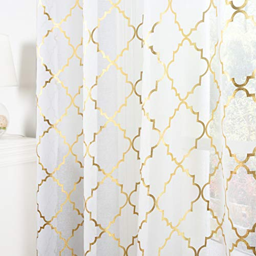 Kotile Moroccan Sheer Curtains 84-Inch Length for Living Room - Rod Pocket White Sheer Curtains Gold Foil Quatrefoil Pattern Window Curtain 2 Panels for Bedroom, W52 x L84 Inch, 1 Pair, White and Gold