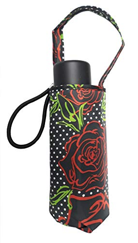 Totes Micro Mini Manual Umbrella, NeverWet technology, Black With Red Rose Outline,