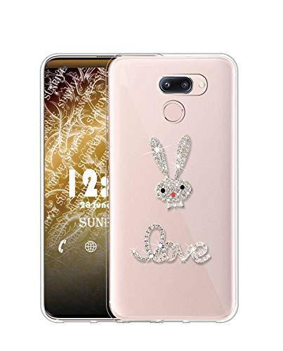 Sunrive Cover per LG V30/LG V30 Plus/LG V30S, Glitter Strass Bling Diamante Custodia Case in Molle Trasparente Silicone Morbida Flessibile AntiGraffio Protettiva Back(Coniglio 1)