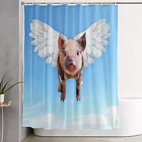 VINISATH Cortinas de Ducha,Impresión de Arte bebé Cerdo Volador Rosa con alas en Cielo Azul Divertido,Cortina de baño Decorativa para baño,bañera 180 x 180 cm