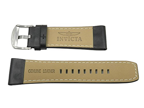 28mm Black Leather Watch Band For Men Invicta Signature 7273