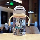 Taza de silicona para bebés y niños, tazas de entrenamiento para niños, lindo bebé, agua potable, asa de paja, biberón 420Ml