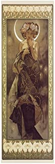 The Moon and the Stars Series -The Moon by Alphonse Maria Mucha Art Print Poster or Canvas