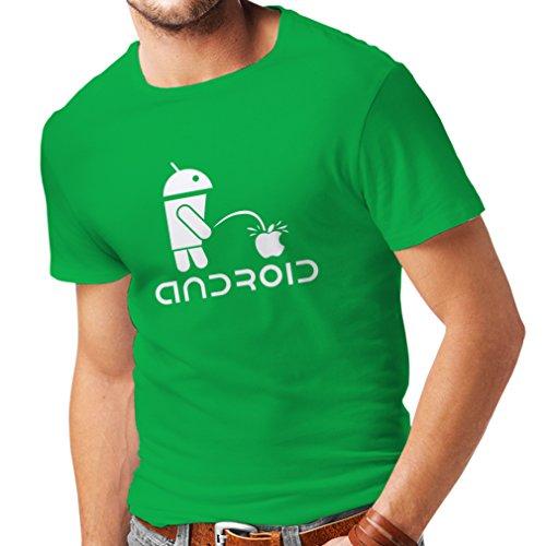 lepni.me Maglietta da Uomo Il Robot Divertente e la Mela - Citazioni Divertenti, Regali umoristici (XX-Large Verde Bianco)