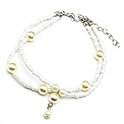 Lovogue Shell Conch Pearl Anklet Bracelet Fashion Beads Beach Foot Chain Barefoot Sandal 2 Layers Jewelry for Women and Girls (Pearl)