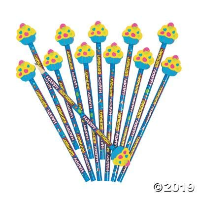 Fun Express Happy Birthday Pencils W/ Cupcake Topper - Stationery - 12 Pieces
