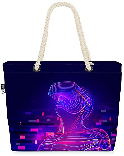 VOID Virtual Reality Brille Gamer Strandtasche Shopper 58x38x16cm 23L XXL Einkaufstasche Tasche Reisetasche Beach Bag