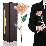 Rosa Regalo Fiore 24K Oro Rosa Eterna Rifinita e Placcata Color Oro Fiore Vero Idea Regalo San...