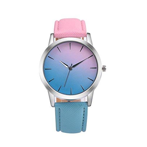 Women's Watches, Auwer Retro Rainbow Design Leather Band Analog Alloy Quartz Wrist Watch (Blue)