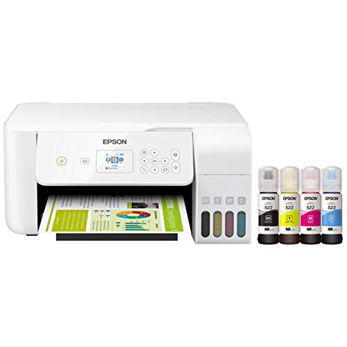 Epson EcoTank ET 27xx Series Wireless Color Inkjet All-in-One Supertank Printer for Home Business Office - White - Print Scan Copy - Voice Activated - 10.5 ppm, Borderless Photo Printing, Ethernet