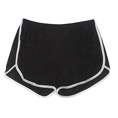 Yoga Gym Sport Shorts Workout Running Short Pants for Women No Drawstring Solid Color Dolphin Shorts Black