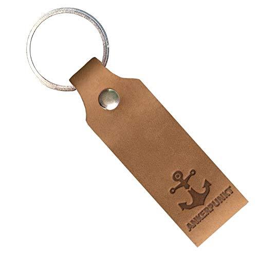 ANKERPUNKT Schlüsselanhänger Leder mit Gravur Anker - Geschenke für Frauen Männer Geburtstag Valentinstag - Made in Germany (Hellbraun) Used Look